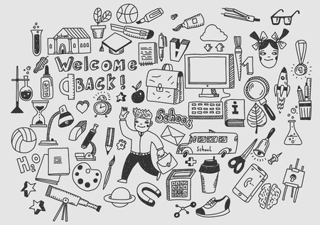 Education, learning, studying. Hand drawn vector doodle school icons and symbols. Vektorové ilustrace
