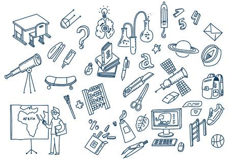 Apprentissage et éducation Éléments scolaires doodle dessinés à la main.