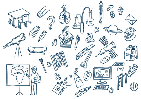 Learning and education Hand drawn doodle school elements. Иллюстрация