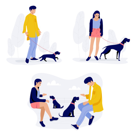 People walking with dogs, men and women with their pets stock illustration.