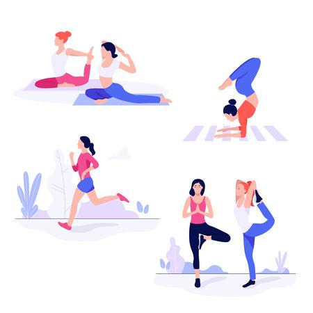 Sportliche junge Frauen trainieren, Fitnessübungen machen.