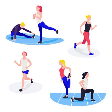Donne in forma che si esercitano. Giovani atlete che fanno allenamento fitness