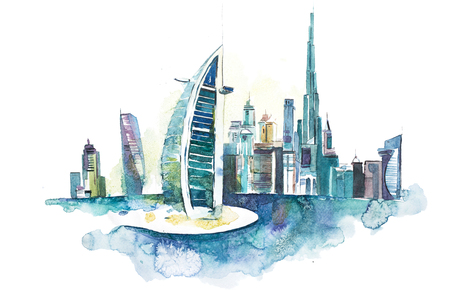 Skyline of Dubai Cityscape landmark skyline. Watercolor illustration Фото со стока - 111082231