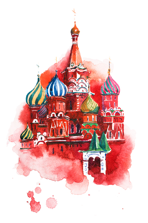 Moscow Russia Red square Saint Basil Cathedral Watercolor