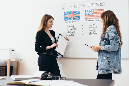 Engelse taalschool. Les, leraar en student praten.