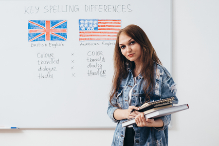 Female student looking at camera. English language school.
