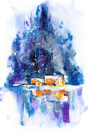 Night wintry scene with snowy house Watercolor illustration. Banque d'images - 113203896