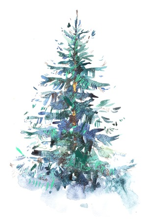 Decorated christmas tree New year Watercolor illustration Water color drawing Zdjęcie Seryjne