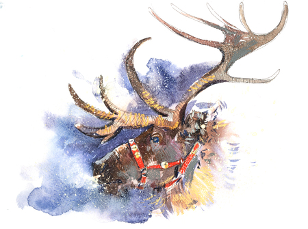 Christmas Santa Claus deer fairy-tale picture in snowfall Watercolor illustration Stock Photo
