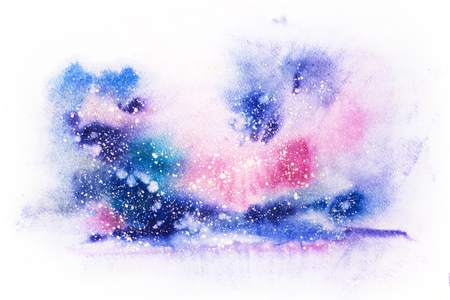 Bright watercolor blue pink purple red stain drips blobs. Abstract illustration