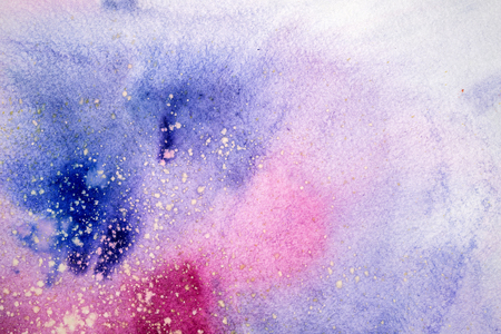Watercolor blue pink purple stain drips blobs. Abstract watercolour illustration