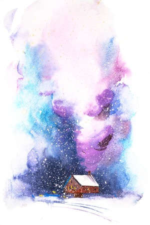 Night wintry scene with snowy house Watercolor illustration.