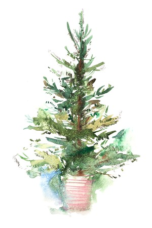 Decorated christmas tree New year Watercolor illustration Water color drawing Stock Photo