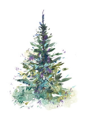 Kerstboom. Nieuwjaar, kerstviering. Aquarel tekenen. Aquarel schilderij Stockfoto