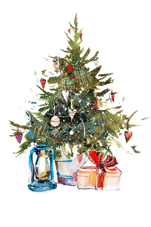 Decorated christmas tree New year Watercolor illustration Water color drawing 写真素材