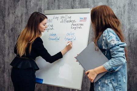 English language school. Lesson, teacher and student talking.