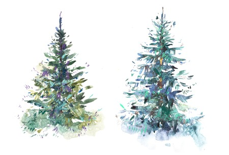 Decorated christmas tree New year Watercolor illustration Water color drawing Banque d'images