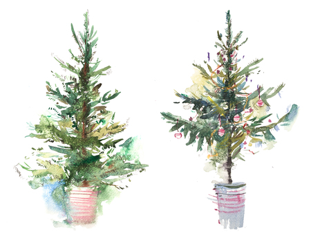Decorated christmas tree New year Watercolor illustration Water color drawing 스톡 콘텐츠