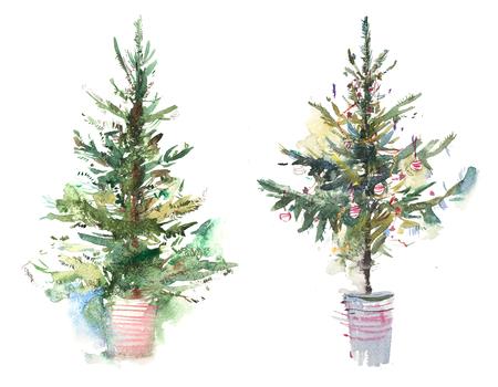 Gedecoreerde kerstboom Nieuwjaar Aquarel illustratie Water kleur tekening