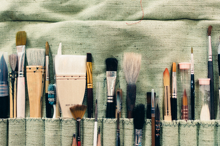 Art brushes different types for drawing on table