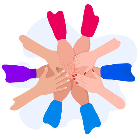 People putting their hands together. Friends with stack of hands. Unity and teamwork, top view. Ilustração