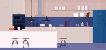 Modern kitchen interior with furniture. Vector illustration.