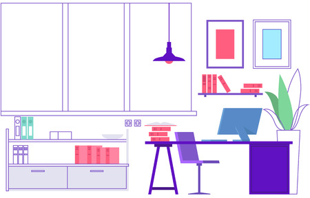 Workplace. Empty modern office interior. Vacant place, learning classroom or home workspace Ilustrace