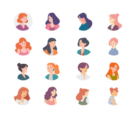People avatar collection. Women girls females characters. Ilustração