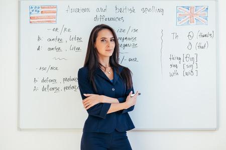 Portrait of female english teacher in front of whiteboard. Imagens