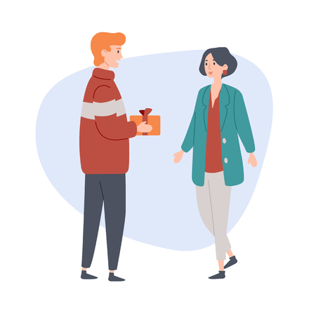 Young man gives a gift to his girlfriend. Congratulation, celebration, love, relationship Illustration