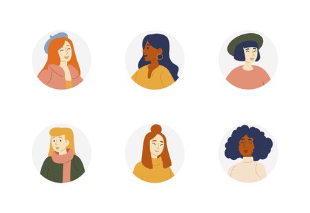 Portraits of girls of different nationalities, races. People avatar collection. Women characters