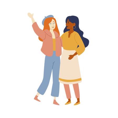 Caucasian and latin american women friends. Full lenght portarait of two beautiful girls Illustration