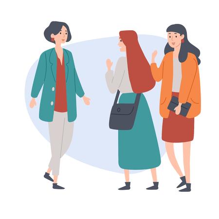 Weibliche Studenten. Junge Leute reden miteinander. Diskussion, Smalltalk. Vektorgrafik