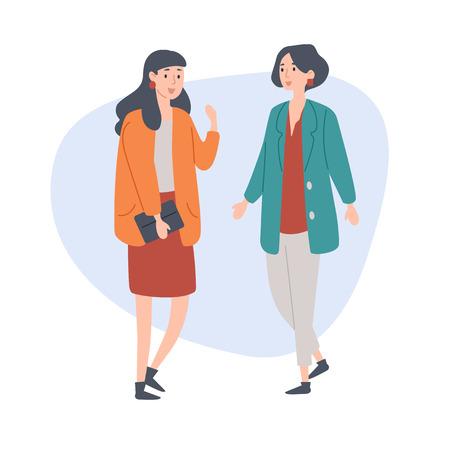 Amiche che parlano trascorrono del tempo insieme. Illustrazione vettoriale.
