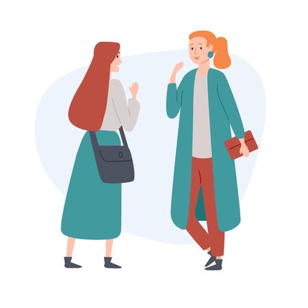 Two women friends talking to each other 向量圖像