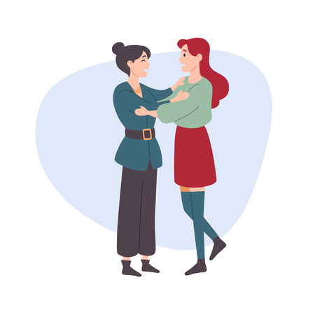 Woman hugs a woman. Female friends, sisters. Illustration