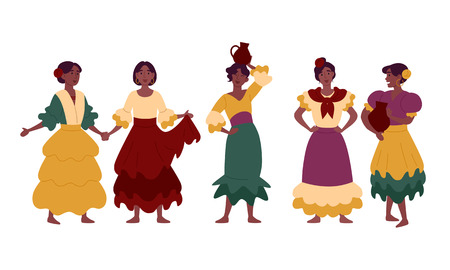 Women in traditional national dresses, festive clothes.