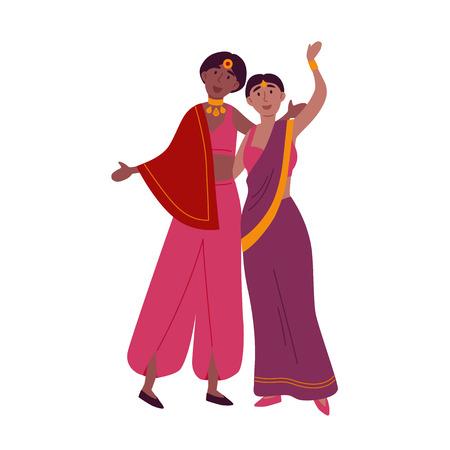Indian women in traditional sari dancing national dance. Stock Illustratie