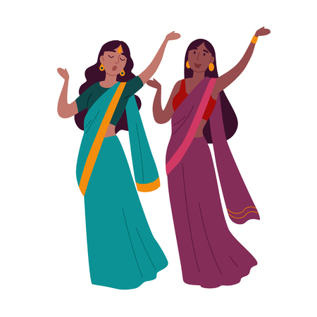 Two women wearing traditional clothing dancing indian dance. Illustration