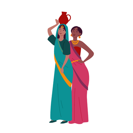 Indian women in traditional national clothes posing Illustration