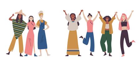 Mujeres o niñas felices parados juntos y tomados de la mano.