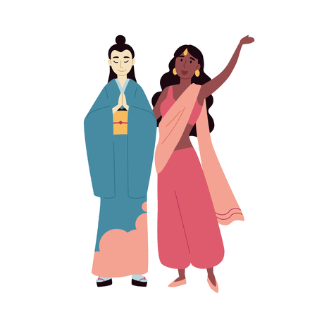 Diverse multiracial and multicultural group of people. Asian and indian women Illustration