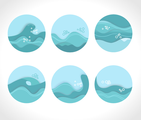 Water splashes collection blue waves wavy symbols. Illustration