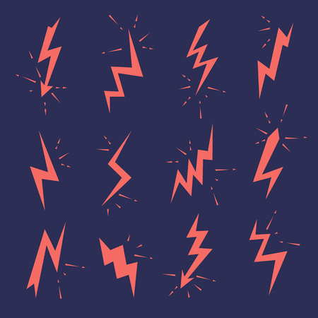 Set of Lightning bolts icons. Thunderbolts, voltage, electricity, flash and power signs.