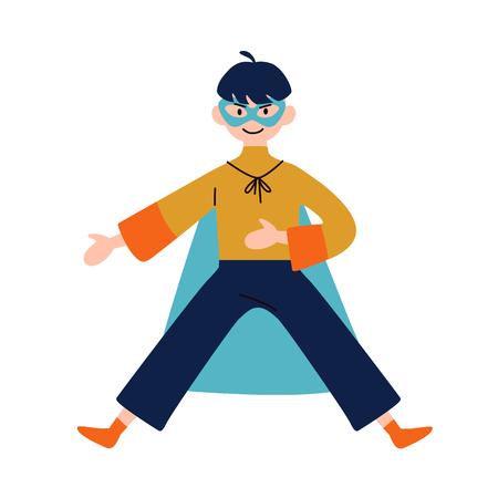 Boy wearing colorful costume of superhero. Vector.