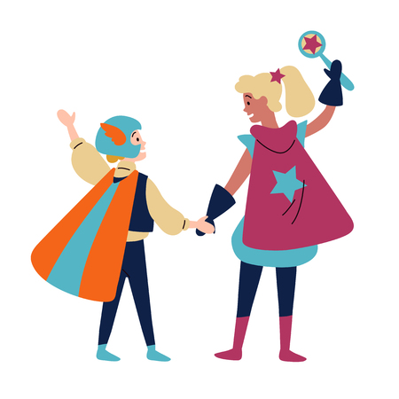 Kids wearing colorful costumes of superheroes. Vector