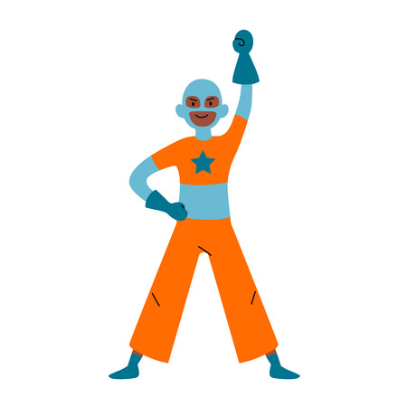 Boy wearing colorful costume of superhero. Vector.