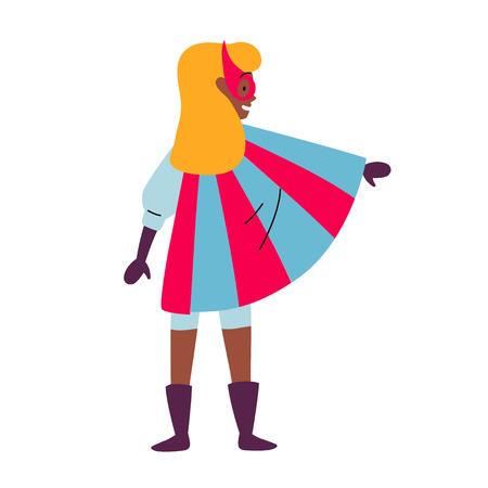 Girl wearing colorful costume of superhero. Vector.