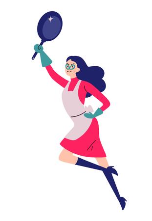 Retrato de ama de casa de superhéroe de limpieza con una sartén.