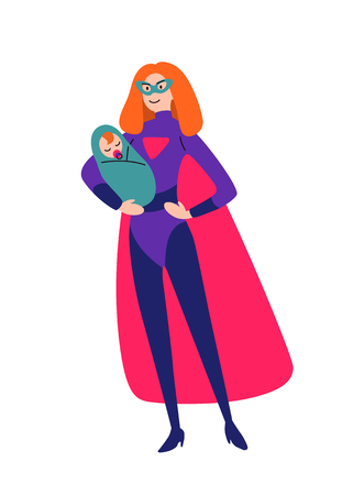 Mother and baby together in superhero costumes Çizim